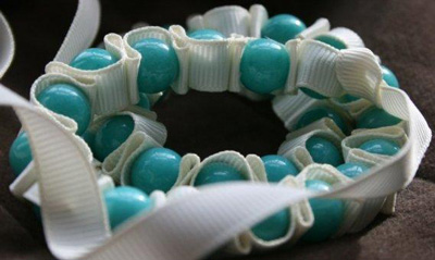 RIBBON AND PEARL NECKLACE BLUE